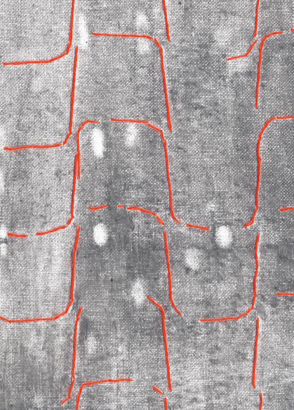Gesa Lange, Barn (Detail), 2020, Bleistift, Graphit und Garn auf Leinwand, 41,5 x 29,5 cm