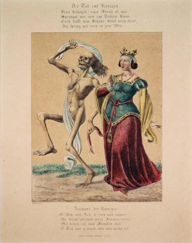 Hieronymus Hess, La Dance de Morts, Kolorierte Lithographie, um 1843