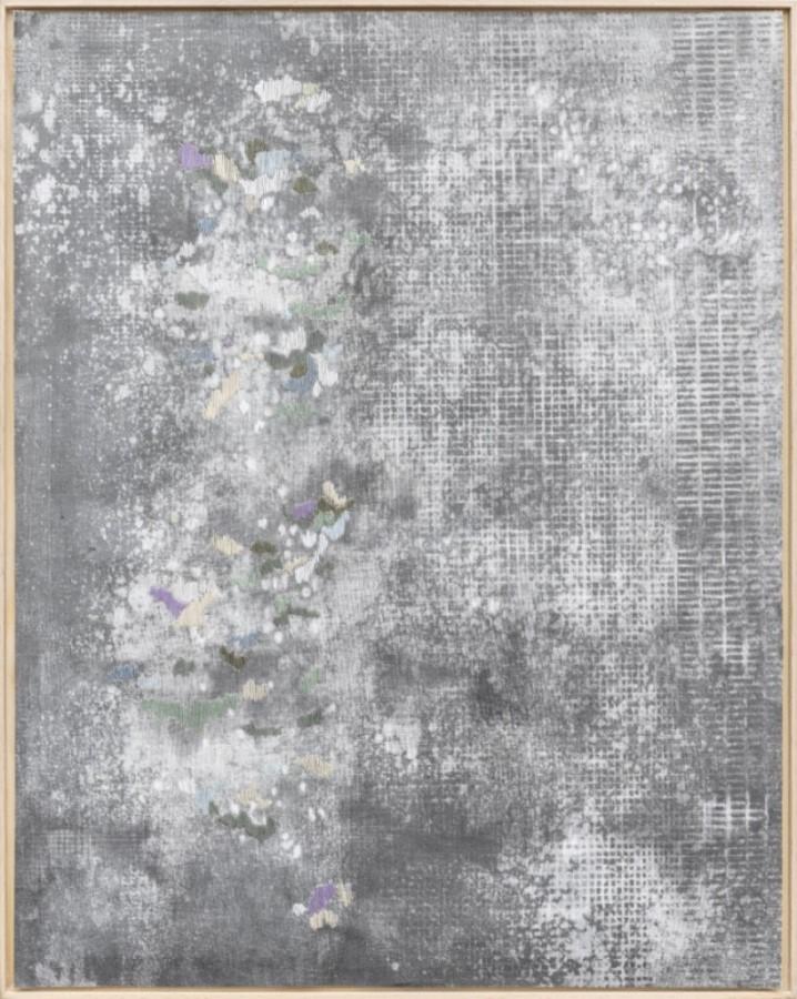 Gesa Lange, Glanz, 2021, Graphit und Garn auf Leinwand, 45 x 35,5 cm