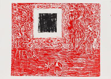 Thomas Kaminsky, o.T., 2014, Holzschnitt, 70 x 100 cm