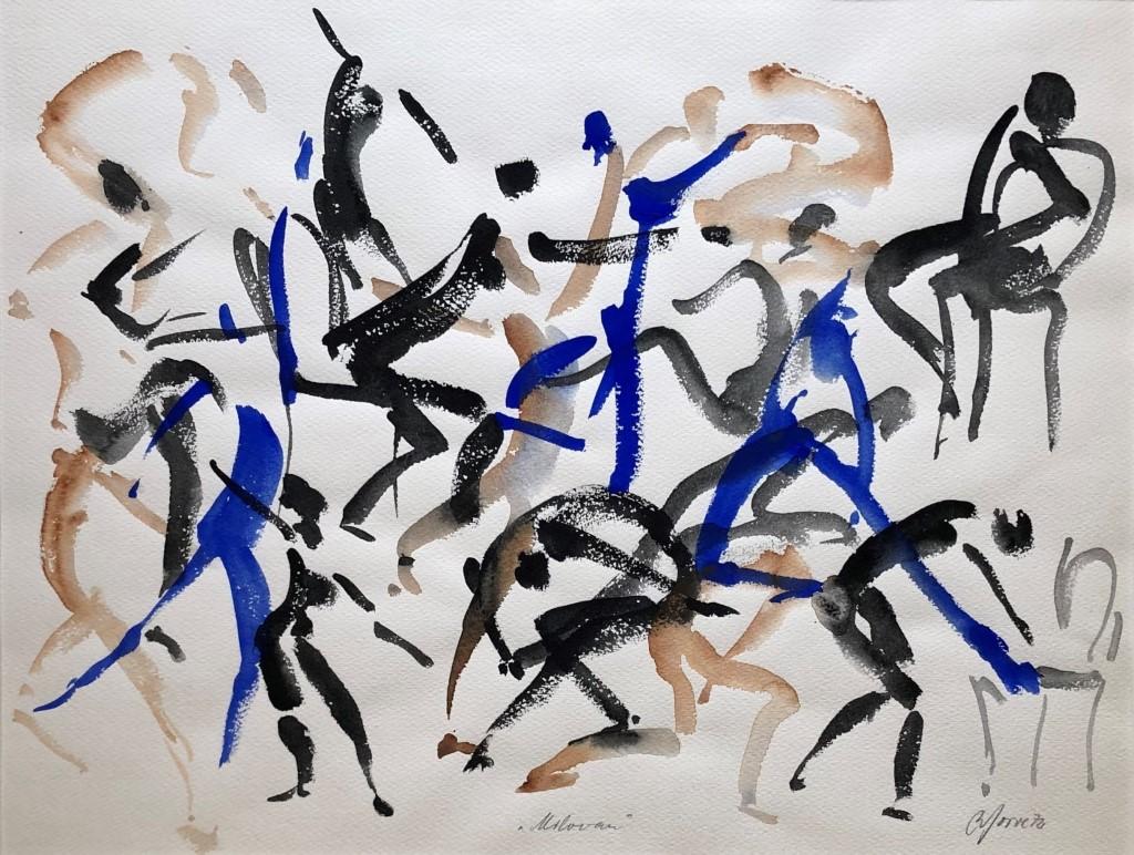 Wilhelm Gorré, Milovan, 1972, Wasserfarben auf Karton